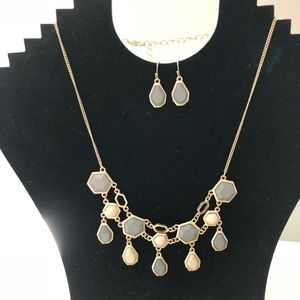 Jewelry - Taupe and Cream Necklace and Earrings Set